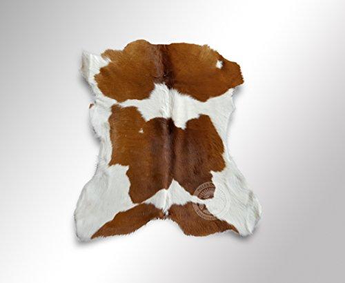 Teppich Kuhfell Färsenleder Farbe: Braun & Weiß, Größe circa 90 x 70 cm Premium - Qualität von Pieles del Sol aus Spanien