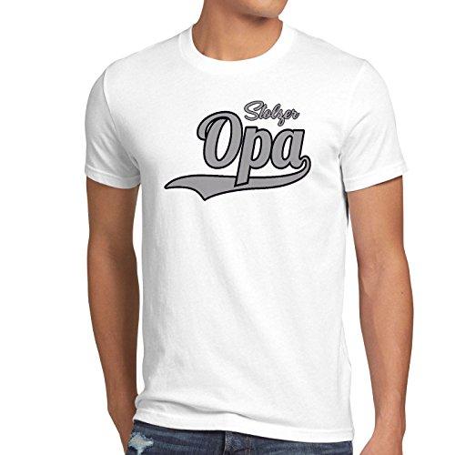 style3 Stolzer Opa Herren T-Shirt Großvater Fun Funshirt Spruch Spruchshirt Weiß