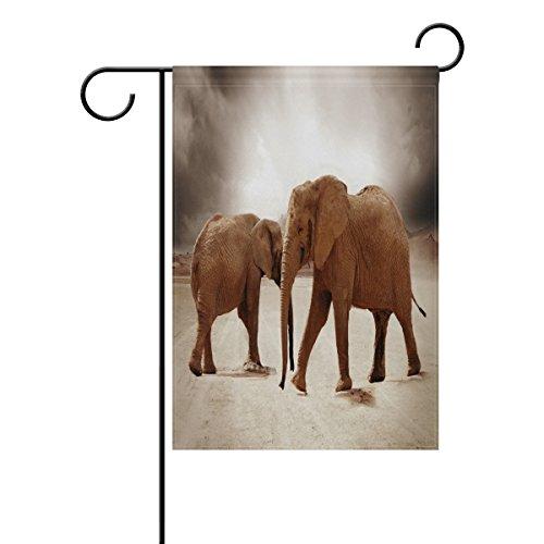 LIANCHENYI Cool Desert éléphants double face Famille Drapeau Polyester extérieur Drapeau Home Party Decro Jardin Drapeau 28 x 40 en