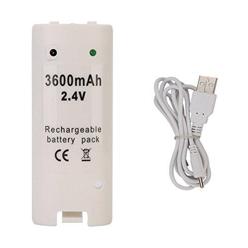 Batería Recargable para Mando Remote Wii Blanco Capacidad 3600mAh, Electrónica...