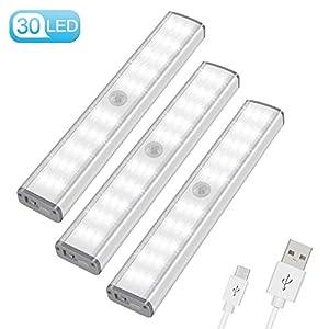 LED Schrankbeleuchtung mit Bewegungsmelder, 30er LED Nachtlicht Schranklicht, USB Nachtlampe mit 3 Helligkeitsstufen für…