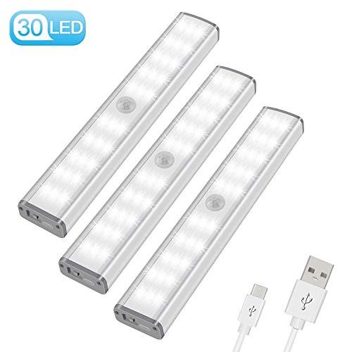 LED Schrankbeleuchtung mit bewegungsmelder Schranklicht - automatisches Nachtlicht 30er LEDs 3 Modi mit 3 Helligkeitsstufen, USB Schrankleuchte für Küche und Flur, Treppenlicht 3er Set