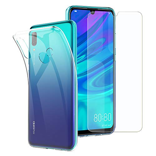 Simpeak Ersatz für Huawei P Smart 2019 Hülle + Panzerglas Transparent, Silikon Clear TPU handyhülle Hartglas Tempered Glass Screen Protector für Huawei P Smart 2019