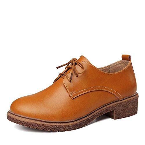 Chaussures talons chunky printemps/Chaussures rétro Angleterre avec tête ronde/Imperméable en cuir casual chaussures femme B