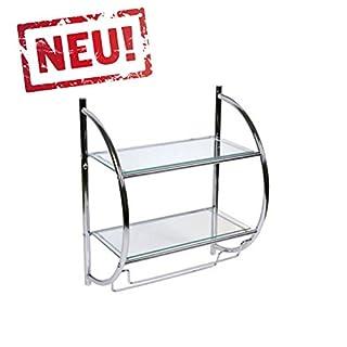 AWD InteriorSanimix24 Badregal, Wandregal, Glasregal mit 2 Glasablagen und 2 Handtuchhaltern - (HxBxT) 54 x 45 x 26cm