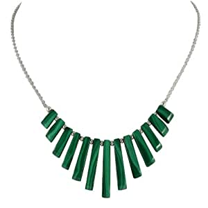 Idaho Green Malachite Graduated Fan Sterling Silver Necklace With Gift Box