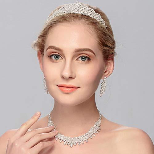 PUDDINGY® Braut Tiara Krone dreiteilige Hochzeit Braut Kristall Schmuck Sets für Frauen oder Brautjungfern (1 Set Ohrringe, 1 PCS Halskette & Kopfbedeckungen)