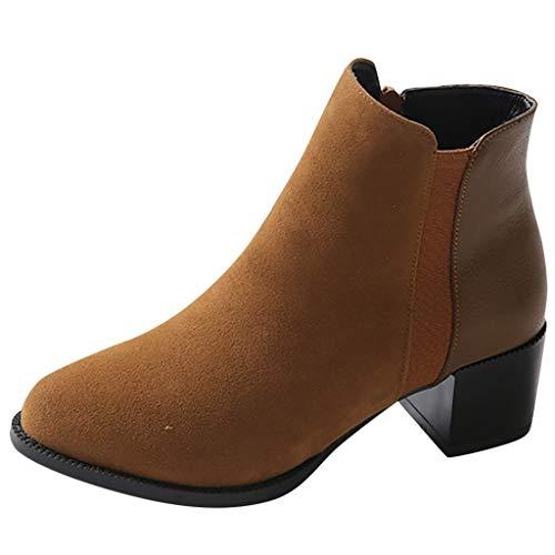 Mymyguoe High Heels Boots Vintage Frauen Stiefel Reine Farbe Stiefeletten Spitz Reißverschluss Stiefel Chunky Heels Warmer Chelsea Boots Stiefeletten Bequem Schwarz Grau Gelb 35-43 Top-10-wellington