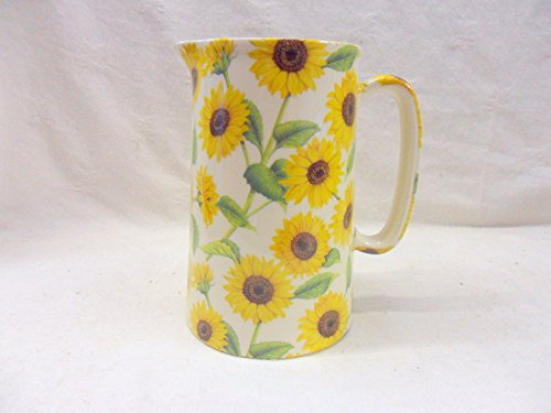1 Pint Jug In Sunflower Design Made By Heron Cross Pottery.