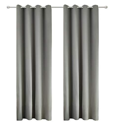 WOLTU 488-2, 2er Set Gardinen Vorhang Blickdicht mit Ösen, leichte & weiche Verdunklungsvorhänge für Wohnzimmer Schlafzimmer Tür, 135x225 cm, Grau