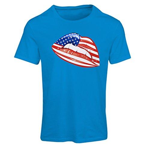 Frauen T-Shirt Patriotic USA Lips- American flag clothing (Medium Blau Mehrfarben) (Fitted American T-shirt Flag)