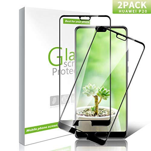 Youer Huawei P20 Lite Panzerglas Schutzfolie, [2 stück] HD Ultra Klar Displayschutzfolie, Ultra-dünner, 9H Härte, Anti-Kratzer, Anti-Fingerabdruck, for Huawei P20 Lite - Schwarz