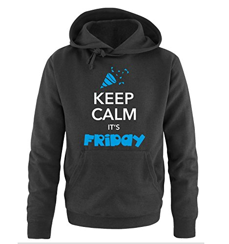 Comedy Shirts - KEEP CALM IT'S FRIDAY - Uomo Hoodie cappuccio sweater - taglia S-XXL different colors nero / bianco-blu