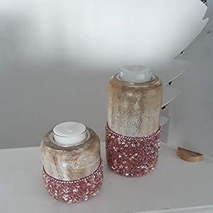 2er Set Kerzenständer Holz Kerzenhalter Teelichthalter braun rosa Modern Tischdeko