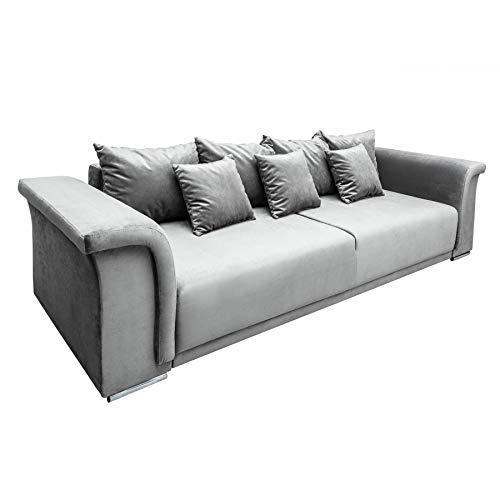 Riess Ambiente Big XL Sofa Bella 270cm hellgrau Samt Schlaffunktion Nosag Federung Schlafsofa Bettkasten Samtbezug Schlafcouch (Sofa Big)
