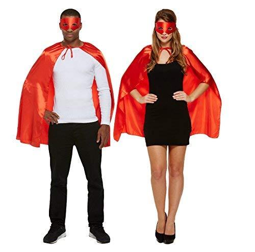 Halloween Red Super Hero Adult's Fancy Dress Costume Includes Cape & (Superman Fancy Dress Kostüm)