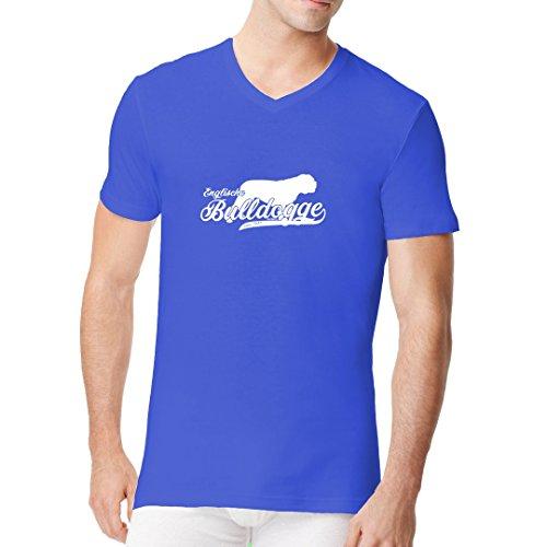Im-Shirt - Hund: Englische Bulldogge (weiß) cooles Fun Men V-Neck - verschiedene Farben Royal