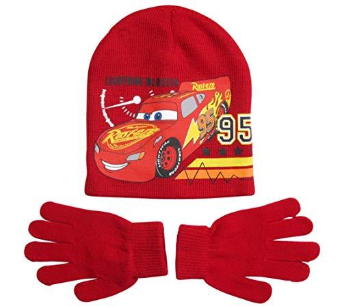 Disney Cars 3 Mütze und Handschuhe Jungen Lightning McQueen (Rot, 4-7 Jahre)