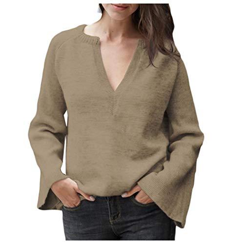 Energy Women's Oversized Casual Pullover V Neck Trumpet Sleeve Knitted Shirt Khaki M -