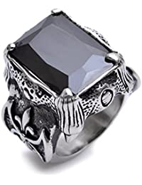 K Mega Jewelry Stainless Steel Silver Huge Black Crystal Mens Ring Size Q S V W Y R421