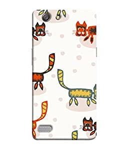 PrintVisa Designer Back Case Cover for Oppo Neo 7 :: Oppo A33 (Colorful Cats Cute Dotted Design)