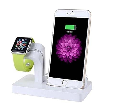 YiZYiF Support et Station de Chargeur bureau Support pour Apple Watch et iPhone 5/5s/5c/6/6s/6s plus/7/7 plus et Apple Montre Series 1 2 38mm/42mm Blanc Taille unique