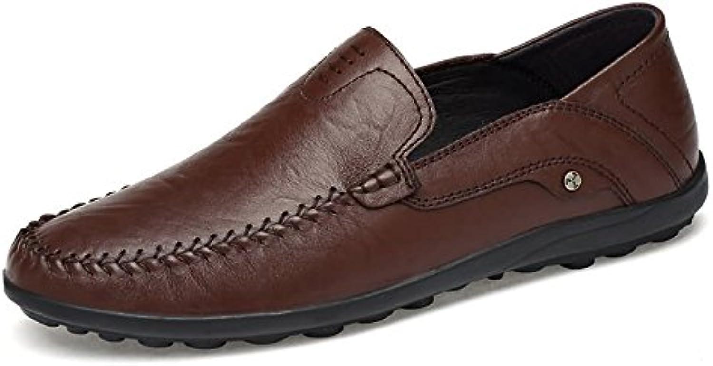 Jiuyue-scarpe Mocassini da uomo in pelle stile hollywoodiano (Coloree   Marronee scuro, Dimensione   44 EU) | Re della quantità  | Sig/Sig Ra Scarpa
