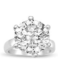 Velini, bague solitaire R5123 , argent sterling 925 AAA zircone cubique qui brille comme un diamant, 10 mm 6 griffes