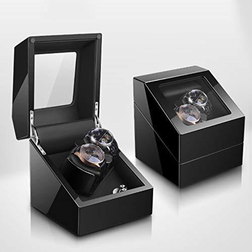 Uhrenbeweger Doppel Automatik Uhrenbeweger Box Aufbewahrungskoffer für 2 Armbanduhren mit leisem Mabuchi Motor - 5 Rotationsmodi, LED Umgebungslicht, Klavierlack, Geschenk (Color : F) (Mabuchi Motor Winder)