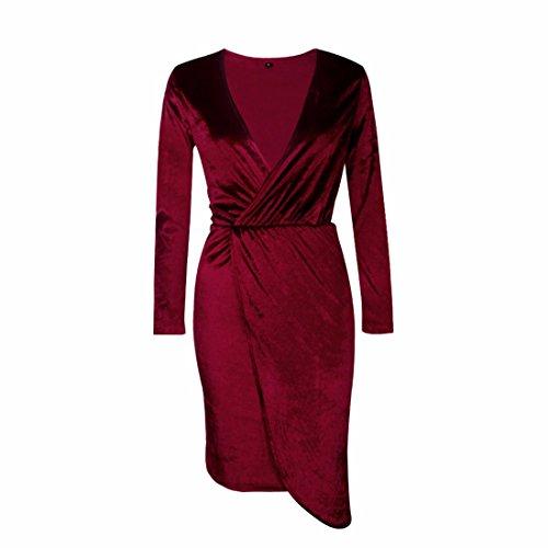 QIYUN.Z Femmes Deep V Neck Manches Longues Velours Tunique Plissé Robe Vin Rouge
