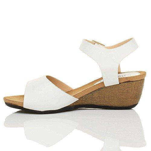 Ajvani Keil-Sandalen, für Damen, Peeptoe Weiß