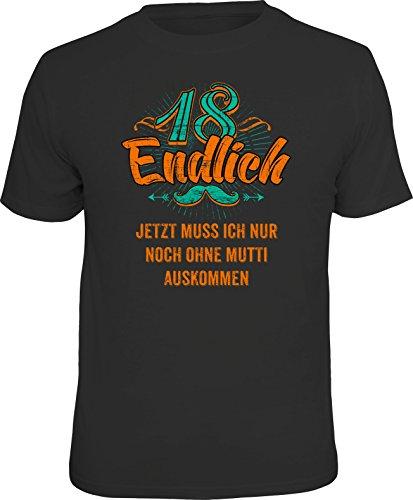 RAHMENLOS Original Geschenk T-Shirt zum 18. Geburtstag: Endlich 18 Größe M, Nr.1538
