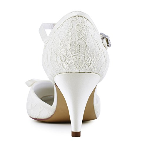 Elegantpark HC1721 Donna Punta Chiusa Stiletto Tacco Altos T-Strap Fibbia Arco Pizzo Scarpe da sposa Avorio