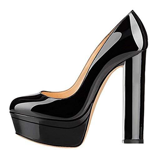 Onlymaker Frauen Doppel-Plattform runde Zehe Block Chunky High Heels Pumps Sandalen Schwarz EU46 High Heels Plattform