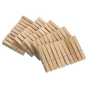 WENKO Wäscheklammern, 50-teilig aus FSC zertifiziertem Echtholz, Holz, 1 x 7 x 1 cm, braun