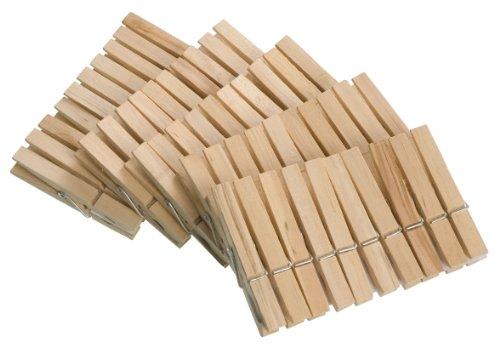 WENKO 3707501100 Wäscheklammern, 50-teilig, Echtholz, 1 x 7 x 1 cm, braun
