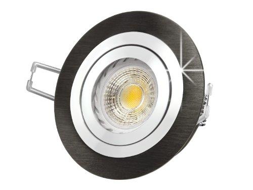 LED Einbau-Strahler RF-2 schwenkbar, Einbau-Leuchte Aluminium gebürstet schwarz eloxiert, COB 6W warm-weiß, GU10 230V [IHRE VORTEILE: einfacher EINBAU, hervorragende LEUCHTKRAFT, LICHTQUALITÄT und VERARBEITUNG] auch für Carport (Licht Schwarz Warm Eloxiertes Weiss)