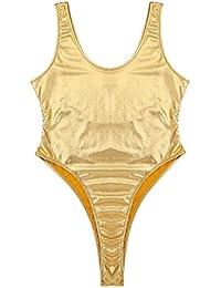 81e6a623b4 Freebily Women s Wet Look Leather High Cut Leotard Bodysuit One-Piece  Swimsuit Lingerie Clubwear
