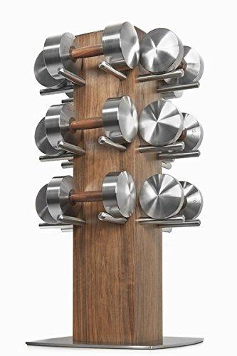 Hock DISKUS Luxus Hantelset 8-18kg - Hochwertige Edelstahl / Nussbaum Hanteln für Deine Fitness. Hantel Paar Made in Germany.