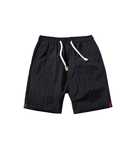 NiSeng Herren große Größe Slim Fit Casual Schnelles Trocknen Shorts Urlaub Strand-Shorts Sommer Badeshorts Surf Swim Shorts BoardShorts Schwarz
