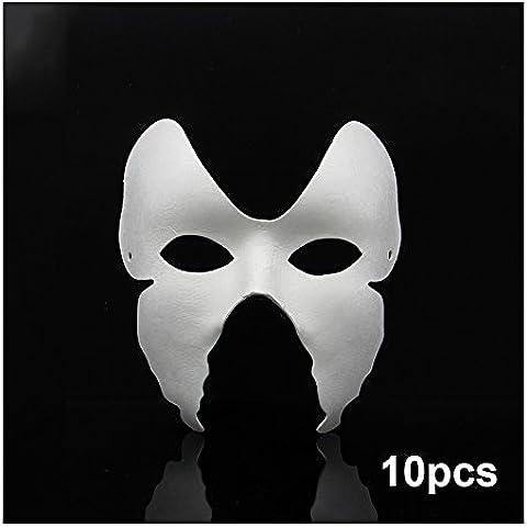 Super44day 10 x bianco pasta per carta, carta Mache maschere per bambino di vernice, per festa di Halloween, motivo: maschera, Halloween palloni prestazioni, Jabbawockeez, maschera Cosplay, decorare e usare per uomo, taglia XXL, confezione da 10 pezzi, per decorazione Craft in piuma d