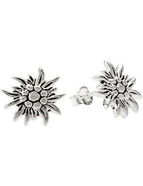 Vinani Damen-Ohrstecker Edelweiß matt oxidiert Sterling Silber 925 Ohrringe OEWW