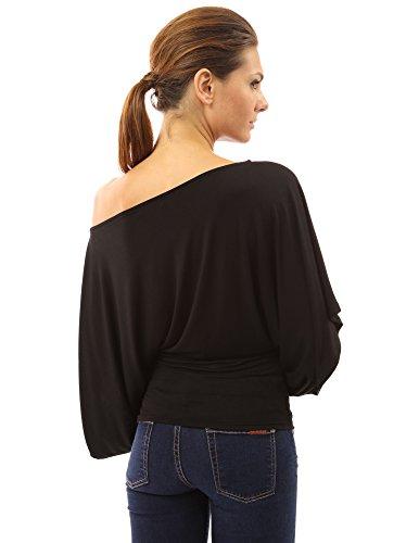 PattyBoutik Damen Schulterfreies Top mit langen und Kimono Ärmeln Schwarz
