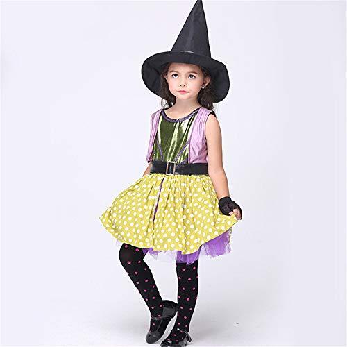 FDHNDER Child Cosplay Kleid Verrücktes Kleid Partei Kostüm Outfit Performance Kleidung Mädchen Kostüme Kinder Hexe Kostüm, M (Höhe 105cm-115cm)