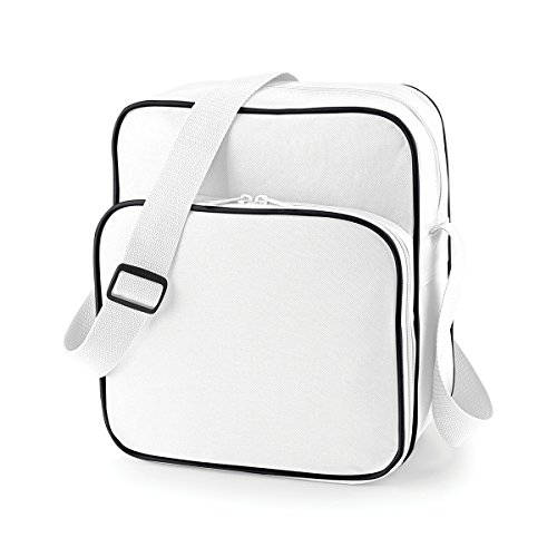 BagBase Borsello Tracolla Unisex Stile Retro day bag 29x33x14cm 10L White Black White/ Black