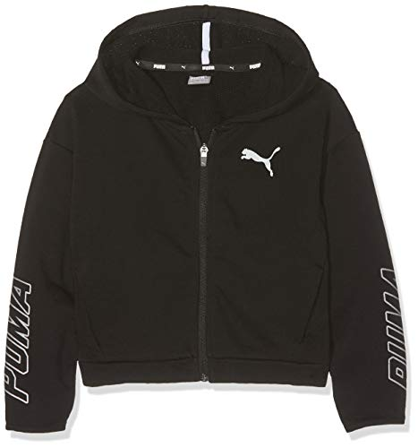 French Terry Hooded Jacket (Puma Mädchen Alpha Hooded Sweat Jacket G Sweatjacke, Cotton Black, 128)