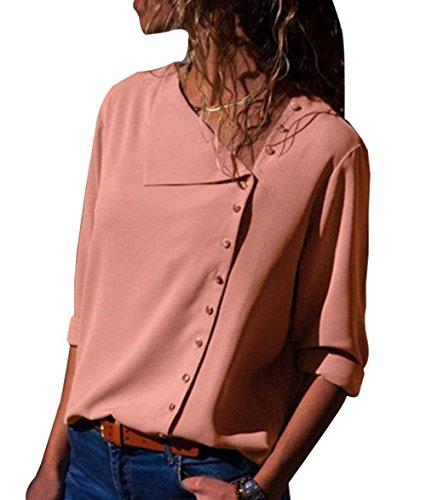ASKSA Damen Bluse Chiffon V-Ausschnitt Oberteile Button-Down Langarm Hemdbluse Tunika Verstellbar Tops (Rosa, X-Large)