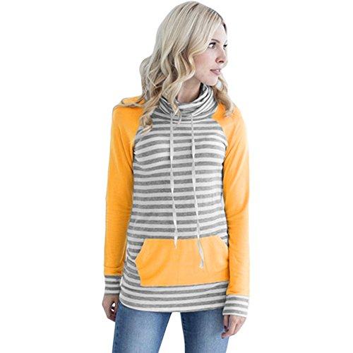 HUA&X Mettre en place des femmes sweat-shirts Sweat Tops à manches longues Pull poche yellow