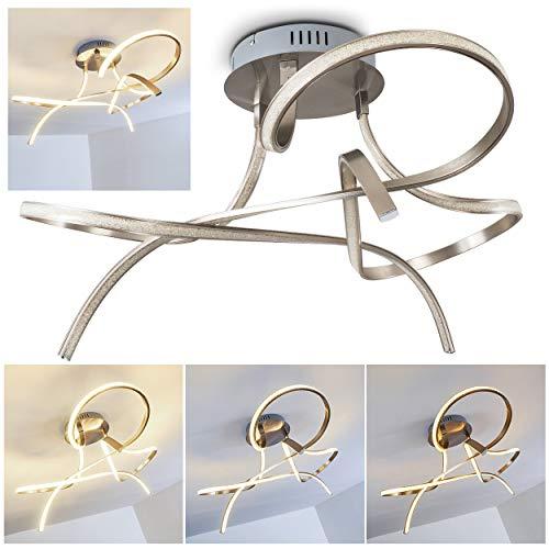 Plafonnier LED Narwa en métal de couleur nickel mat - Luminaire de plafond pour salon - séjour - salle à manger - chambre à coucher - Intensité variable sur interrupteur commun