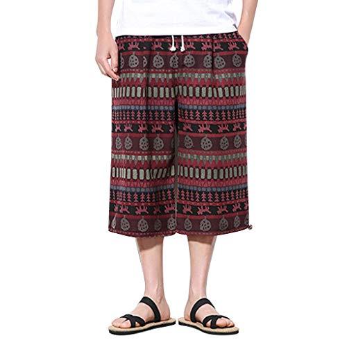 GreatestPAK Baggy Pants Herren Cropped Pants Neu Vintage Print Weite Hosen,Rot,EU:S(Tag:L) 5-pocket-cropped Pants